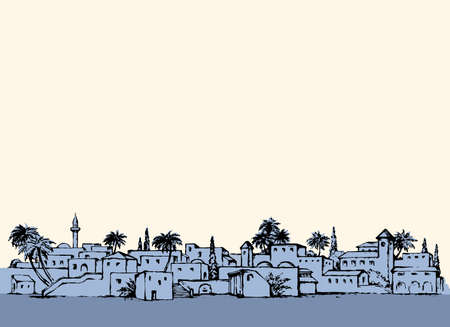 Aged middle east antique turkey orient palm tree oasis scene view with vintage tower dwelling. Outline ink hand drawn picture sketch in retro silhouette graphic style with place for text on white sky