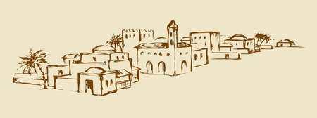 Arhaic eastern turkey orient desert sand palm Bahla oasis scenic view. Benhaddou stone dwelling scene. Outline ink hand drawn judaic picture in vintage style and place for text on white sky background Vettoriali