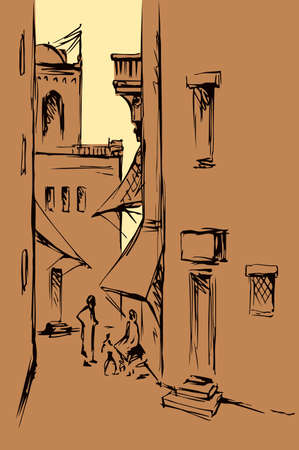 Aged orient biblical religion heritage scene view. Retro muslim berber arch gate built dwelling on white background. Line black ink hand drawn saudi rabat man travel quarter picture sketch in antique style