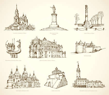 Famous touristic city show place of old known great historic memorials, obelisk colonna. Freehand outline ink hand drawn picture symbol icon sketch in art retro engraving style pen on paper background
