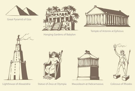 Vector symbols of The Seven Wonders of the Ancient WORLD: Great Pyramid of Giza, Hanging Gardens of Babylon, Temple of Artemis at Ephesus, the Lighthouse of Alexandria, Statue of Zeus at Olympia, Mausoleum at Halicarnassus (also known as the Mausoleum of Mausolus) and Colossus of Rhodes