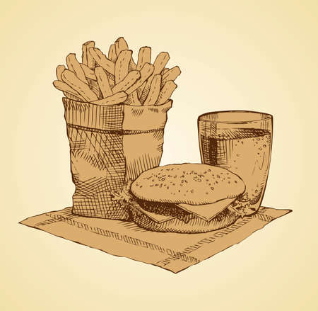 American still life in McDonald's bar. Juice in glass, beefburger isolated on white backdrop. Freehand outline ink hand drawn picture sketch in doodle retro graphic style pen on paper. Closeup view