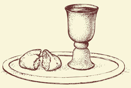 Symbols of Communion: broken bread and wine in bowl. Vector monochrome freehand sketchy linear drawn background in doodle style pen on paper with space for text Vectores