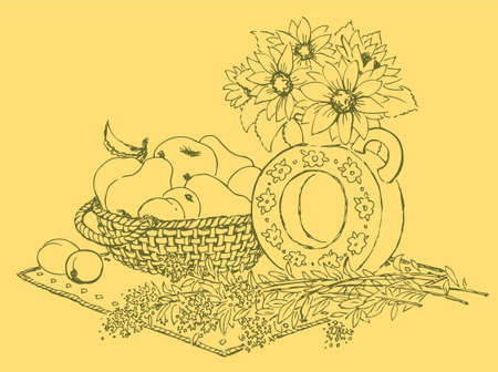 Vector still life vase with fragrant flowers and fruit in a basket