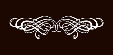 Old cute romantic book ribbon bow swirly tag swoosh element set isolated on dark black board backdrop. Freehand white chalk outline drawn curly logo sketchy in artistic rustic curlicue scrawl style