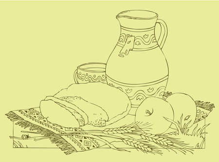 Vector drawing. Still life of apples, bread and milk on the embroidered tablecloth in the grass 矢量图像