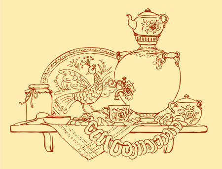 Vector Sketch a still life with samovar, bagels and jam Vecteurs