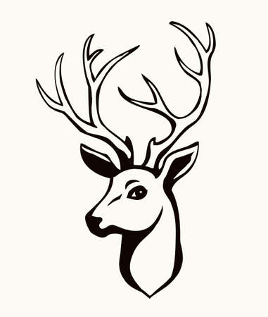 Large strong noble brown spot beast rack look. Outline black hand drawn red emblem design set picture retro beauty art zoology contour print style. Close up outdoor view paper wall text space backdrop