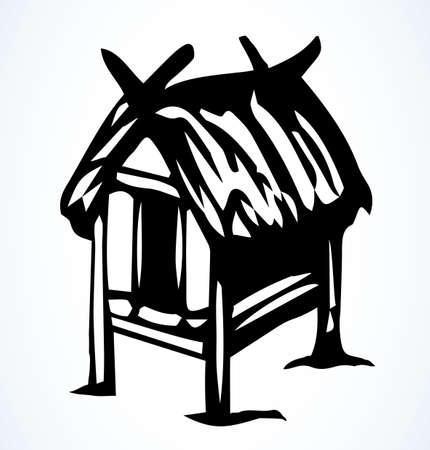 Cozy cute small poor aged Thai rest reed cover protect roof barn. Retro white outline black hand drawn primitive wood door pet farm dwell villa relax picture sketch logo design art vintage line style