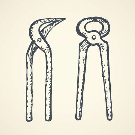 Old grunge rusty iron jaw adjustable tighten forceps on white backdrop. Freehand linear black ink drawn picture emblem sketchy in art retro scribble contour graphic style pen on paper. Closeup view Vektoros illusztráció