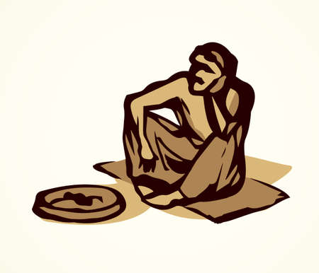 Aged sick dirt skinny bankrupt almsman at plate on white outdoor city space for text. Line black ink hand drawn travel vagrant character icon pictogram sketch in retro art doodle cartoon graphic style