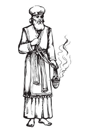 Moses torah historic divine ministry culture. Old bearded Aaron in tunic, turban with censer of incense. Line black ink hand drawn judaic leader sketch in vintage art east engrave style pen on paper Ilustración de vector