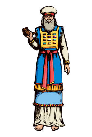 Moses torah historic divine ministry culture. Old righteous bearded Aaron with tunic, turban, horn of anoint oil. Bright blue color hand drawn judaic levit leader picture sketch in vintage east art