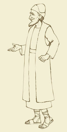 Elder bearded wise chaldean sage priest in antiquity ethnic middle east Aramaic biblical wear: linen tunic suit, tallith, cap, sandals. Outline ink drawn sketch in art retro cartoon style pen on paper