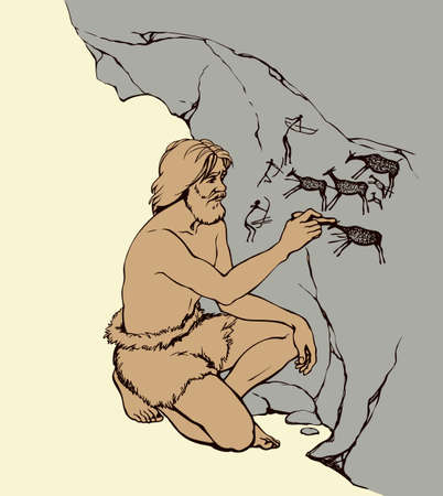 Outline doodle drawn image. Archaic aged male person in loincloth of fur animal skin draw in charcoal on rock wall of cavern grotto depict scrawl figure of life: hunters shoot bows arrow in deer herd Vector Illustratie