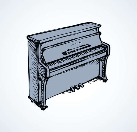Ancient ebony harpsichord tune on white backdrop. Freehand outline ink hand drawn pianino logo emblem pictogram sketchy in artist retro silhouette engraved cartoon style on space for text. View closeup Logos