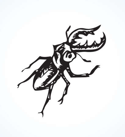 Big cute crawly lucanid stagbeetle on light backdrop. Freehand dark outline ink hand drawn insecta logo emblem sketchy in retro art doodle etch style pen on paper space for text. Close up detail view Illusztráció