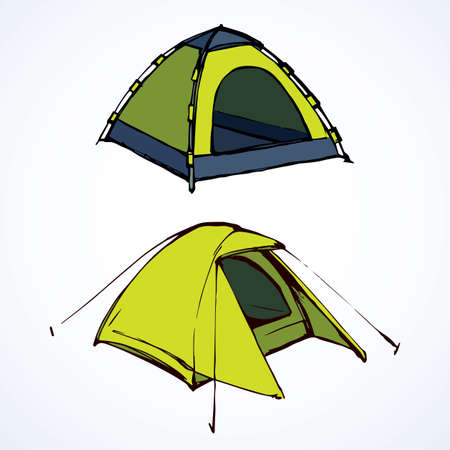 Open hiker resort booth tarpaulin habitation on white backdrop. Bright yellow lime color hand drawn logo sketchy in art modern scribble contour style pen on paper. Closeup view and space for text Logo