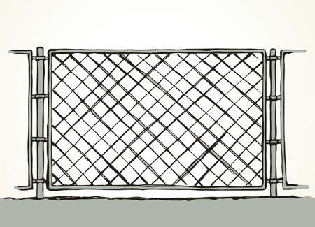 Iron Mma enclose detain chainlink framework hedge bar section element on white sky backdrop. Black line hand drawn design logo sign sketch in modern art doodle style. Close up view with space for text