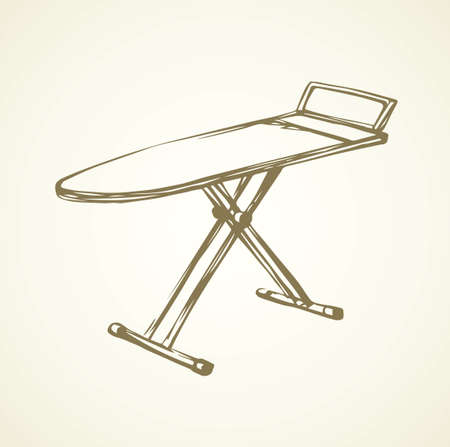 Modern table for garment ironing on white backdrop. Freehand outline black ink hand drawn collapsible object logo emblem in art retro scribble cartoon style pen on paper space for text. Isometric view