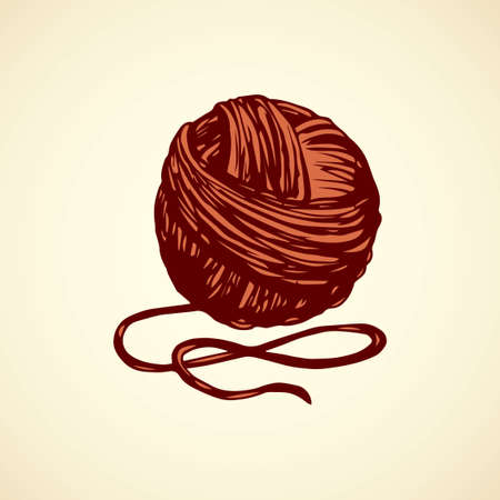 Big cute circle twisted tied ravel twine strand coil isolated on white backdrop. Outline red ink hand drawn picture sketchy in art scribble retro style pen on paper. Closeup view with space for text