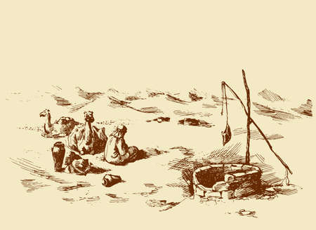 Tired trip old historic biblical nomad seat in barren hot wild asian Oman ground. Line hand drawn berber scene sketch in antique style ink pen on paper. Scenic up view and space for text on white sky Vettoriali