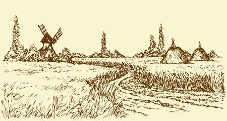 Romantic outdoor husbandry scene. Panoramic view with space for text on sky. Aged wind mill grinds grain into flour. Freehand outline ink hand drawn picture sketchy in art doodle style pen on paper
