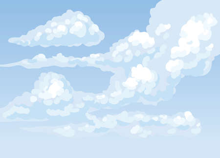 Spring azure frown nebulous scenery isolated on celestial day heaven backdrop. Bright cyan color hand drawn gale skyscape sketch in art cartoon style. Panoramic view with copyspace for text 矢量图像
