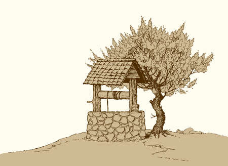 Aged rusty rock source basin with crank rope covered tiled canopy on village yard. Freehand outline ink hand drawn backdrop in art retro doodle graphic style pen on paper with space for text on sky