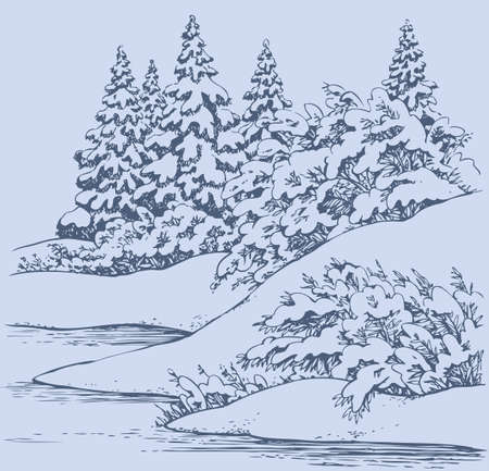 Vector graphic background. Winter forest landscape with snow-covered fir trees and bushes on the hills near the frozen river