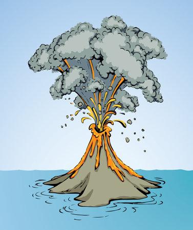 Ancient power big heat burn burst molten vulcano stream scene. Light white vintage text space. outline black hand drawn hot travel vulcan logo sign design. retro art doodle line style. Top scenic view Logo