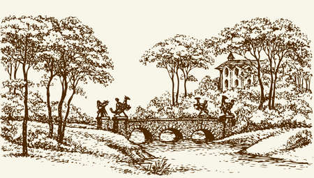 Old-fashioned stone bridge with cast copper statues over rivulet in royal parkland with beautiful palace. Vector monochrome freehand ink drawn background sketchy in scrawl antiquity style pen on paper with space for text