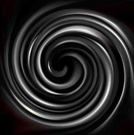 Vector modern creative wonderful wavy eddy futuristic ebon aqua backdrop of glossy rippled curvy spraying sphere. Closeup view with space for text in middle of funnel Vektorgrafik