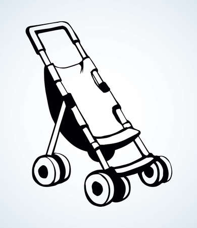 Cute mommy calash waggon shape on light backdrop. Freehand outline black ink hand drawn scion trolley emblem sketchy in art retro doodle contour style pen on paper space for text. Closeup view