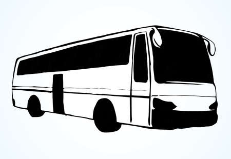 Large blank intercity charter school bus on light road text space. Outline black ink hand drawn school tire machine pictogram emblem design in art doodle print style on paper. Closeup side view
