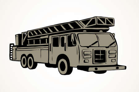 911 aid diesel drive van squad on white road backdrop. Freehand outline black ink hand drawn big lorry siren gear emblem sketchy in modern art scribble cartoon style pen on paper space for text