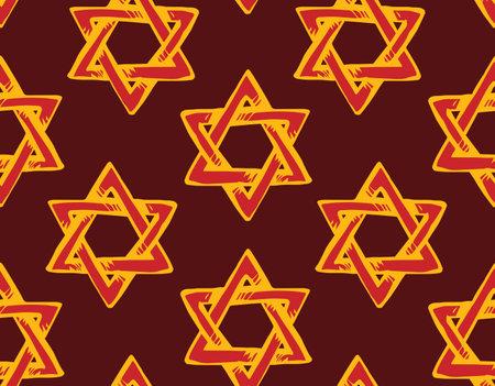 Old kosher judaic gold chanukkah magen shape heritage backdrop. God torah chanukah yiddish day logo emblem. Orange color hand drawn zion ethnic hannukah sketch in retro art doodle cartoon style on dark black fond