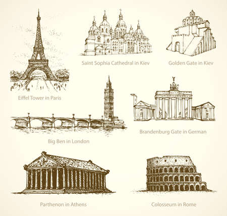 World wonder. Famous touristic show place of old known great historic european towns memorials. Freehand outline ink hand drawn picture icon sketch in art retro doodle style pen on paper background