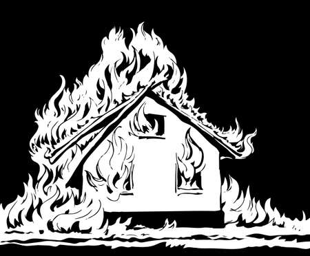 Closeup view red cottage estate exterior tragedy ruin. Light white paper text space. Outline black hand drawn hut property object safe life pictogram emblem concept design. Retro art doodle style
