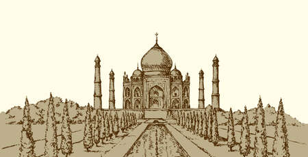 Marble muslim tomb in Agra city, built by Mughal emperor Shah Jahan for his wife Mumtaz. Freehand ink drawn background sketch in art doodle retro style. Panoramic view with space for text on white sky Illustration