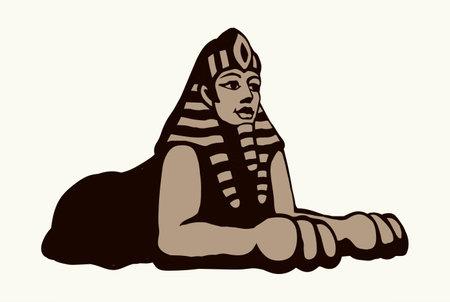 Gold mystic carve idol lion man mask face on white desert sand necropolis text space. Line black hand drawn myth rock god king pictogram emblem design in retro artist doodle engrave cartoon style
