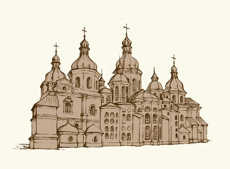 Aged Saint Sofia Sobor in Kyiv isolated on white background. Historic medieval National Memorial Museum. Freehand ink hand drawn backdrop sketchy in retro style pen on paper with space for text on sky 矢量图像