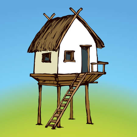 Cozy small poor clay barn on legs isolated on blue sky background. Retro thai rest pagoda arbor with aged reed roof. Bright color ink hand drawing picture sketch in art retro doodle contour style