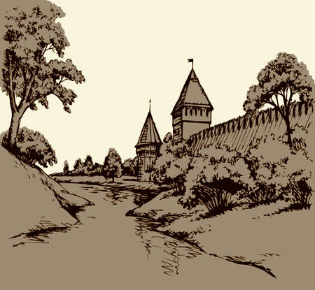 Eastern aged royal house autumn country scenic isolated white sky view. East past arab rock wall dome ruin on hill scene at pond. Line black hand drawn travel tourism picture in art retro sketch style