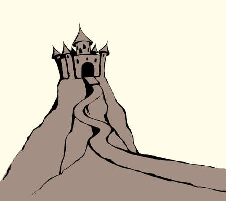 High aged royalty cute line turret scene on mount on white sky backdrop. Outline black ink hand drawn fantasy story tale prison road sign icon picture in art retro engrave doodle style on text space