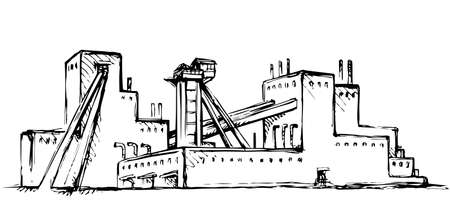 Old urban big iron mineral quarry rock mine refine excavate mill work on white sky. Black outline hand drawn heavy coal carbon crude diesel tank service icon sign text sketch as retro high art cartoon