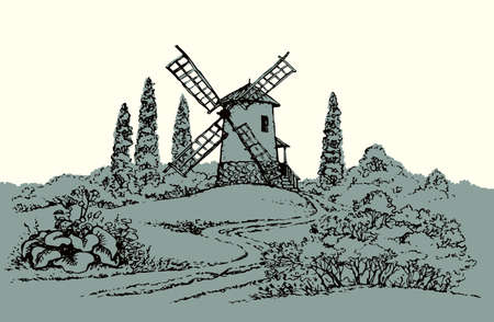 Outdoor antique autumn hill garden path scene big grind food rye grain barn scenic view text space on white sky. Outline black hand drawn picture design engrave. art doodle cartoon line icon sign