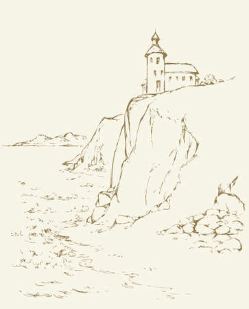 Summer dusk scene. Path to high guide point lamp searchlight for ship on top of steep cape bank. Outline ink hand drawn picture sketch in art retro style pen on paper with space for text on white sky 矢量图像