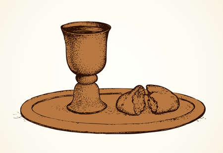 Symbolic antique wooden table still life. Broken unleaven loaf, grape juice in old golden grail goblet on white card space. Chaplain medieval Lord grace object sign icon. Ancient retro art sketch