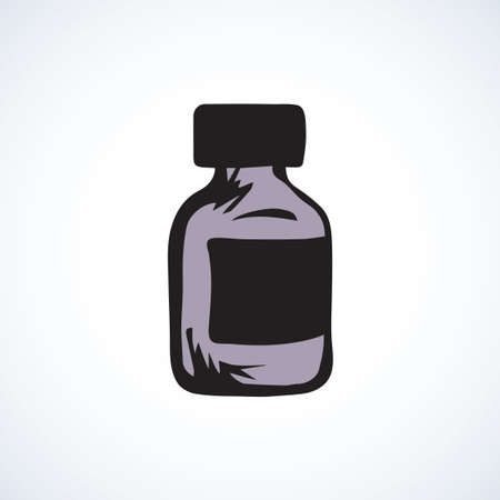 Round plastic RX vial pack isolated on white background. Web outline cartoon ui plus concept. Freehand linear black ink hand drawn flat emblem sketchy in retro doodle graphic style pen on paper 矢量图像